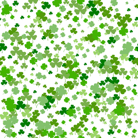 Vector Illustration of a St. Patrick s Day Background. Seamless pattern with clover leaves