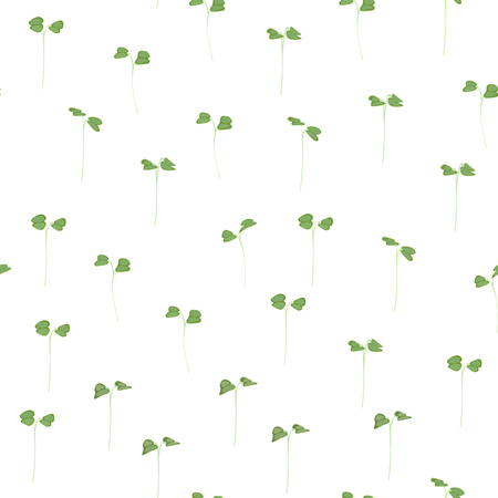 Seamless pattern young leaves seedlings on a white background. Raw sprouts, microgreens, healthy eating concept. Vector illustration Ilustrace
