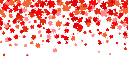 Horizontal pattern of red maple leaves. Symbol of Canada. Autumn background. Vector illustration  イラスト・ベクター素材