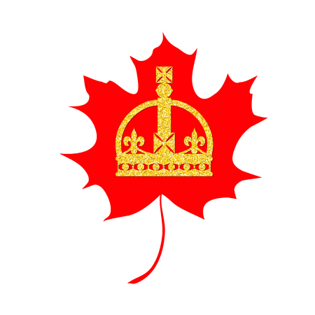 Happy Victoria Day card with maple leaf and crown. Victoria day - national holiday in Canada. Template for invitation, poster, flyer, banner