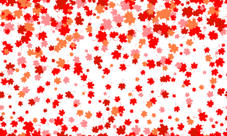 Seamless pattern of red maple leaves. Symbol of Canada. Autumn background. Vector illustration