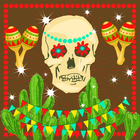 Cinco de Mayo - May 5, federal holiday in Mexico. Poster of Mexican culture symbols: maracas, cactus, skull, flowers, flag garland. Vector illustration Illustration