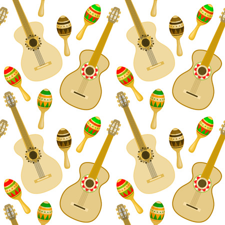 Cinco de Mayo - May 5, federal holiday in Mexico. Seamless pattern of Mexican culture symbols: guitar and maracas. Vector illustration