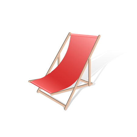 Wooden beach chaise longue isolated on white background. Realistic summertime illustration. Vector template for your summertime design.