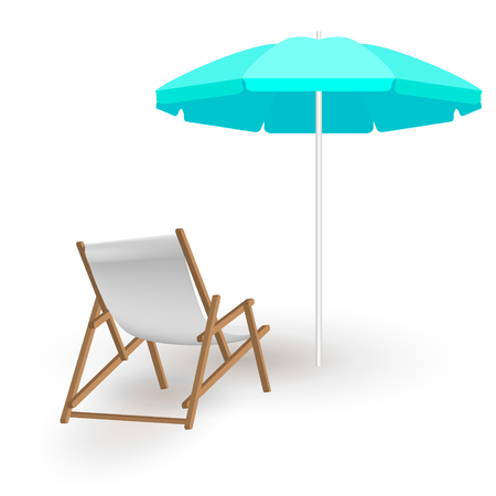 Beach chair with shadow and beach umbrella isolated on white. Wooden beach chaise longue and blue beach umbrella. Realistic summertime illustration. Vector template for your summertime design