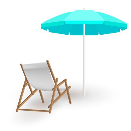 Krzesło plażowe z cieniem i parasolem na białym tle. Drewniany szezlong plażowy i niebieski parasol plażowy. Realistyczna ilustracja lato. Szablon wektor do projektowania letniego