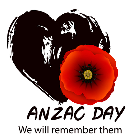 Anzac day background with red abstract poppies. Red poppy flower on black grunge heart background.   illustration