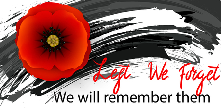 Anzac day background with red abstract poppies. Red poppies on a background of grunge brush strokes.