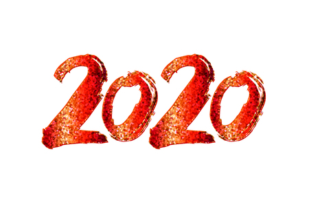2020 New Year. 2020 red numbers on a white background. Hand written lettering. Happy Holidays card design. Vector illustration