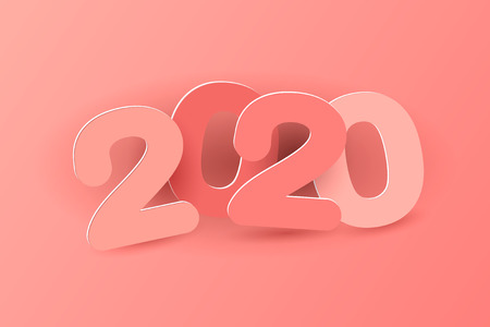 New year 2020 paper cut numbers in delicate pink colors. Multicolor inscription 2019. Vector illustration. Decorative greeting card 2020 new year. Иллюстрация