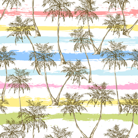 Tropical palm trees seamless pattern on grunge multi-colored stripes background. Vector illustration