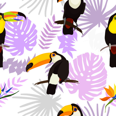 Tropical seamless pattern with bright tropical bird Toucan, green jungle palm, monstera leaves, hibiscus flowers and strelcia flowers. Vector summer design for fabrics