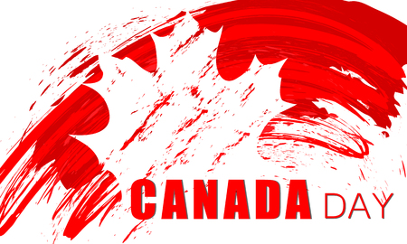Grunge brush stroke with Canada national flag. Canada Day background with maple leaves in red. Decorative design elements for Canadian national holidays. Symbol of Canada. Vector illustration