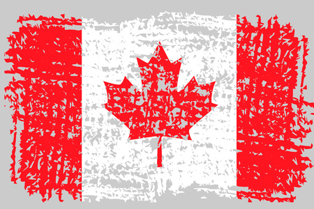 Grunge brush stroke with Canada national flag. Canada Day background with maple leaves in red. Decorative design elements for Canadian national holidays. Symbol of Canada.  Vector illustration Imagens - 126170044