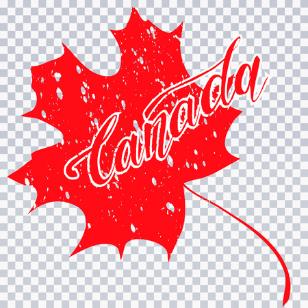 Grunge brush stroke with Canada national flag. Canada Day background with maple leaves in red. Decorative design elements for Canadian national holidays. Symbol of Canada.  Vector illustration Imagens - 126170045