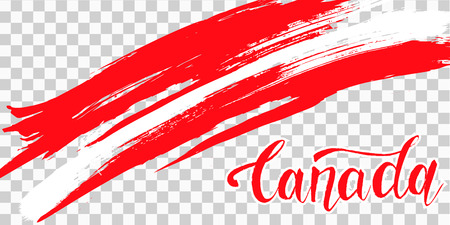 Grunge brush stroke with Canada national flag. Canada Day background with maple leaves in red. Decorative design elements for Canadian national holidays. Symbol of Canada.  Vector illustration Imagens - 126170046