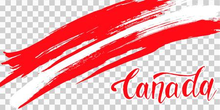 Grunge Pinselstrich mit Kanada Nationalflagge. Canada Day Hintergrund mit Ahornblättern in Rot. Dekorative Gestaltungselemente für kanadische Nationalfeiertage. Symbol von Kanada. Vektor-Illustration Vektorgrafik