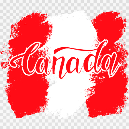 Grunge brush stroke with Canada national flag. Canada Day background with maple leaves in red. Decorative design elements for Canadian national holidays. Symbol of Canada.  Vector illustration Imagens - 126170058