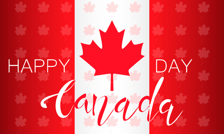 Flag of Canada and lettering on a background of maple leaves pattern. Decorative realistic design elements for Canadian national holidays. Symbol of Canada.  Vector illustration Imagens - 126170064