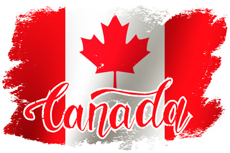 Grunge brush stroke with Canada national flag. Canada Day background with maple leaves in red. Decorative design elements for Canadian national holidays. Symbol of Canada.  Vector illustration Imagens - 126170067