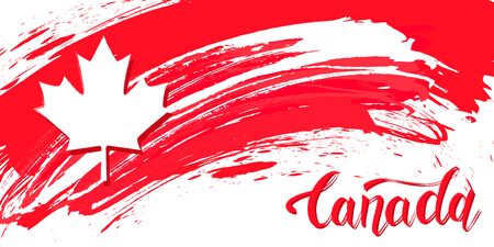 Grunge brush stroke with Canada national flag. Canada Day background with maple leaves in red. Decorative design elements for Canadian national holidays. Symbol of Canada.  Vector illustration Imagens - 126170069