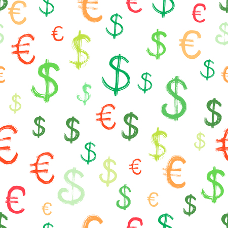 Seamless background with dollar and euro symbols