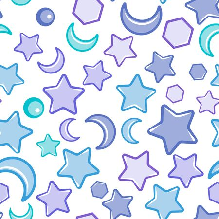 Seamless abstract pattern with blue sharp stars,  moon, circles on white background. Design for fabric, wrapping, textile, wallpaper, apparel. Vector illustration Imagens - 126170085