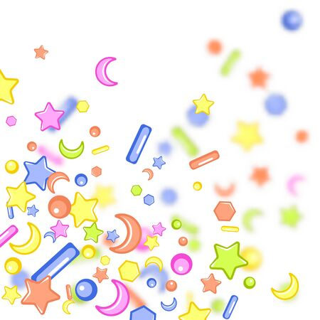 Sprinkle with grains of desserts. Abstract pattern with sharp stars,  moon, circles on a blurry grainy background. Design for holiday designs, party, birthday, invitation. Vector sweet confetti Imagens - 126170088