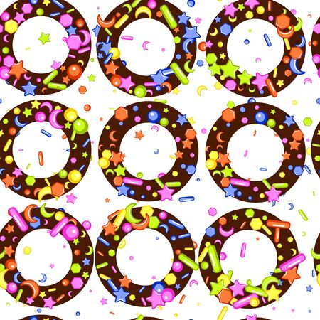 Sprinkle with grains of desserts. Seamless abstract pattern with sharp stars,  moon, circles on chocolate donuts. Design for holiday designs, party, birthday, invitation. Vector sweet confetti