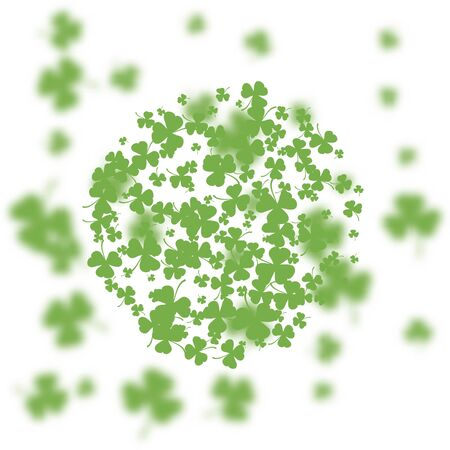 St. Patrick's Day holiday background. Green clover leaves round pattern on a background of blurred clover leaves. Ideal for greeting card, poster and web template. Vector illustration Imagens - 126170755