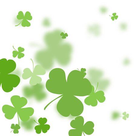 St. Patrick's Day holiday background. Green clover leaves on a background of blurred clover leaves. Ideal for greeting card, poster and web template. Vector illustration Imagens - 126170758