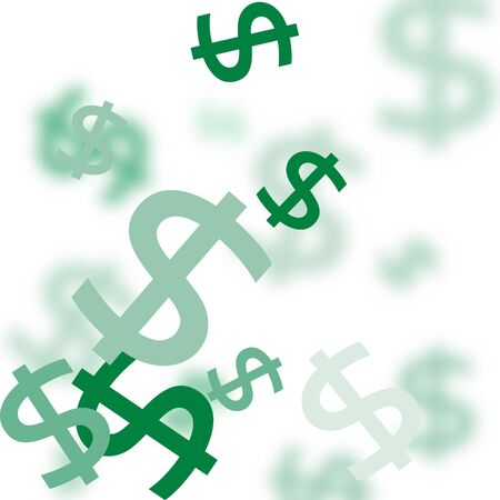 Pattern of the symbols of dollar currency.  Green vector background with signs of dollars. The pattern can be used for your ad, poster, banner of USD money. Imagens - 126170766