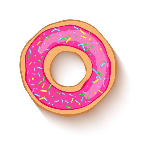 Donut avec un glaçage rose parsemé de grains. Beignet coloré réaliste sur fond blanc saupoudré de grains. Conception pour les conceptions de vacances, fête, anniversaire, invitation. Vecteur Vecteurs