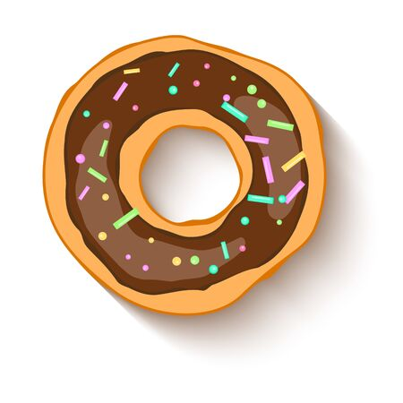 Donut with a chocolate  icing sprinkled with grains. Realistic colorful donut on white sprinkled with grains background. Design for holiday designs, party, birthday, invitation. Vector Ilustração