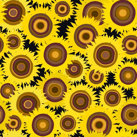 Seamless pattern of sunflower on a dark background. Summer seamless pattern with mess from sunflower. Summer harvest. Design for textile, fabric,  packaging, wallpaper. Imagens - 126176466