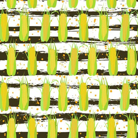 Seamless pattern of corn cobs on the background of grunge strips and scattered grains of corn. Summer, autumn harvest. Design for textile, fabric,  packaging, wallpaper. Imagens - 128481921