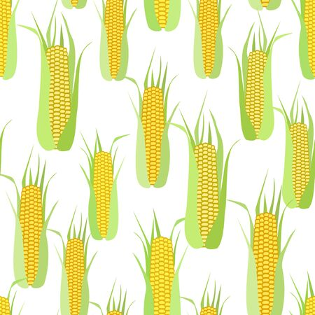Seamless pattern of corn cobs on a white background.  Summer, autumn seamless pattern with mess from corn. Summer, autumn harvest. Design for textile, fabric,  packaging, wallpaper. Ilustração