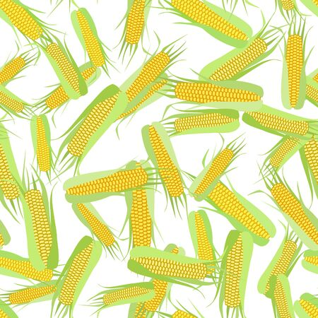 Seamless pattern of corn cobs on a white background.  Summer, autumn seamless pattern with mess from corn. Summer, autumn harvest. Design for textile, fabric,  packaging, wallpaper. Imagens - 128481920