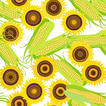 Seamless pattern of flowers sunflower and corn cobs on white.  Summer seamless pattern with mess from sunflower and corn. Summer harvest. Design for textile, fabric,  packaging, wallpaper. Imagens - 128481926