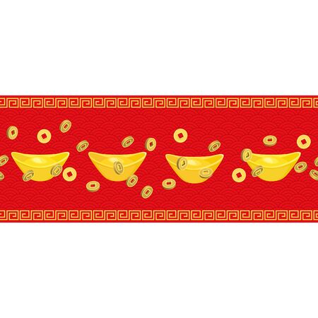 Seamless Horizontal pattern Chinese golden ingot, coins  on red background. Chinese gold ingot, coins realistic. vector illustration for Chinese new year Imagens - 128481928