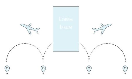 Line path of air plane with start point and dash line trace. Vector illustration for graphic and web design. Line drawing style Imagens - 128482234