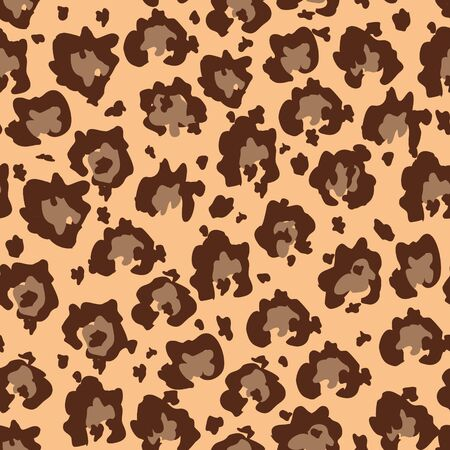Seamles faux leopard skin pattern with brown spots. Vector illustration animal repeat surface pattern.