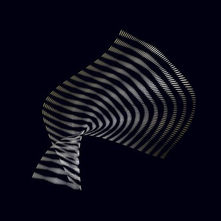 Abstract 3d  background with bends and wave lines from points template. Thin ripple waves on a black background. Vector illustration Banco de Imagens - 128482347