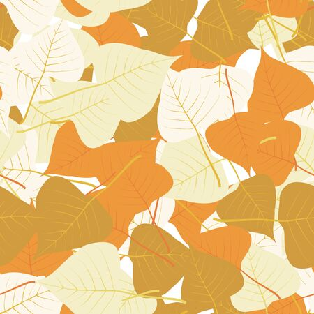 Vector seamless pattern with autumn leaves in red colors. Background for autumn decoration and design. Floral wallpaper.