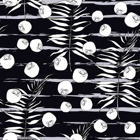 Monotone modern tropical seamless pattern. Black and white leaf, berries on shape brush line.  Trending contrast vector pattern for fabric, textile, wrapping. Watercolor brush strokes, stains, ink