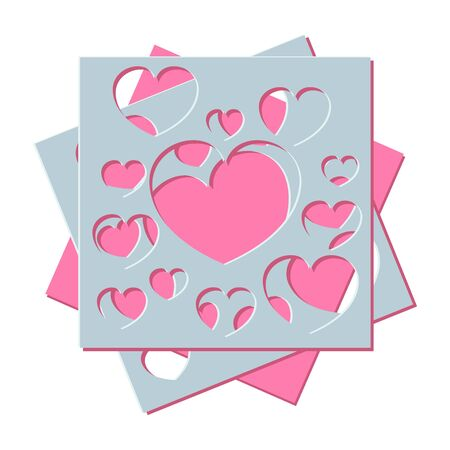Abstract generative  distributed hearts holes on a white background. Vector illustration suitable for valentines day design, wedding design, birthday.