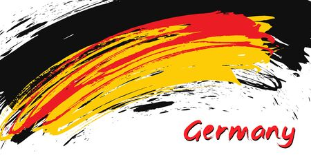 Grunge brush stroke with German national flag. German National Day background. Decorative design elements for German national holidays. Symbol of German.  Vector illustration Imagens - 130781407