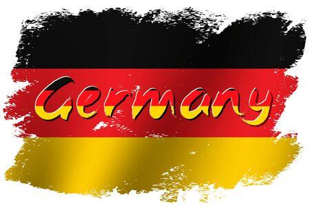 Grunge brush stroke with German national flag. German National Day background. Decorative design elements for German national holidays. Symbol of German.  Vector illustration Imagens - 130781404