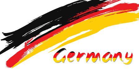 Grunge brush stroke with German national flag. German National Day background. Decorative design elements for German national holidays. Symbol of German.  Vector illustration Ilustração
