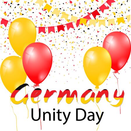 Happy German Unity Day design inflated balloons, flying confetti and text. Decorative realistic design elements for Germany national holidays. Symbol of Germany.  Vector illustration